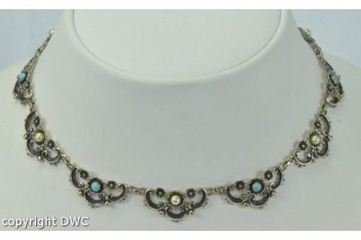 Türkiscollier mit Perlen und Türkisen in aus 835er Silber silver necklace