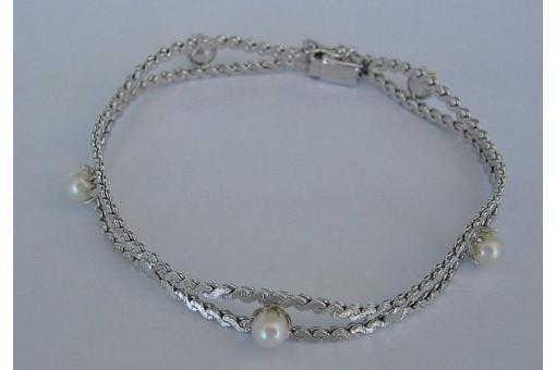 Perlenarmband mit Perle Perlen in aus 14 Kt. 585 Weißgold pearl bracelet
