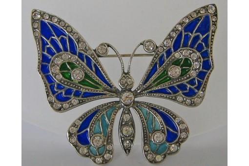 Unikate & Goldschmiedearbeiten Brosche Schmetterling Silber Email Emaille Diamanten & Edelsteine