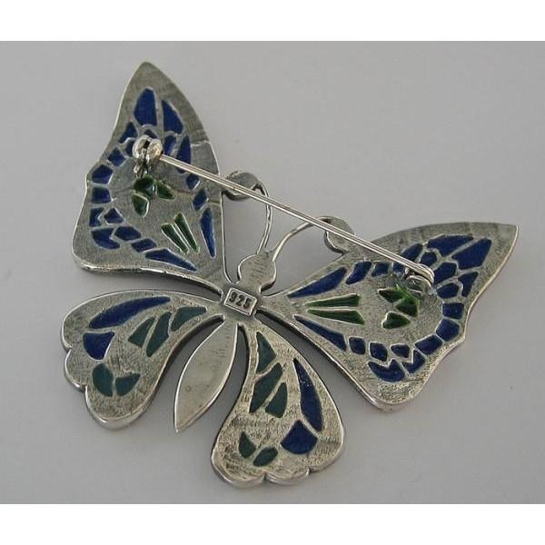 Uhren & Schmuck Brosche Schmetterling Silber Email Emaille
