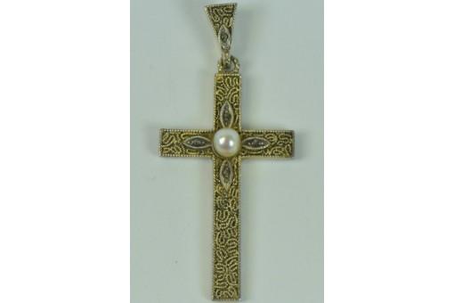 Anhänger Kreuz Perle THEODOR FAHRNER 925 Silber