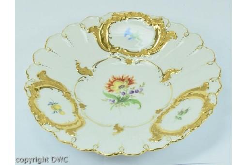 Prunkteller Teller Marke Original Meissen Porzellan Gold mit Feldblumen Dekor