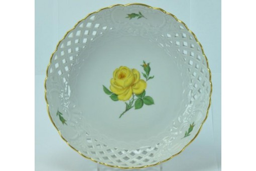 Original Meissen Porzellan Durchbruchschale Schale gelbe Rose Goldrand 21,5 cm