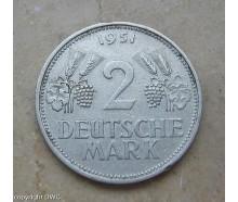 Coin Münze 2 Mark 1951 D Trauben und Ähren Jäger 386 Cu Ni Sammlermünze