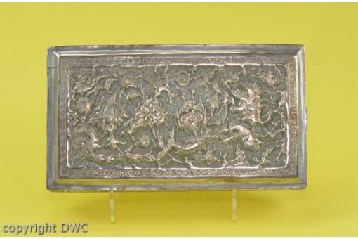 Silberdose Schmuckdose mit Blumen und Vögel versilbert Persien Antik L.16 cm