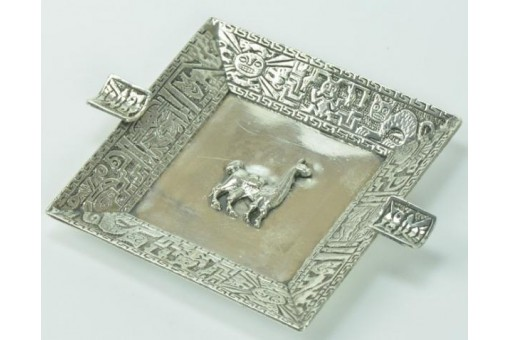 Aschenbecher Peru silver Ashtray in aus 925 Silber Lama Kamel Sterling