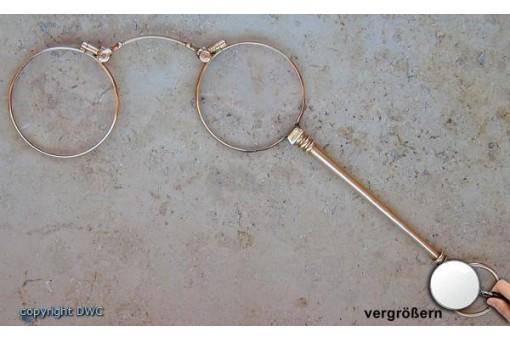 Lorgnon Sehilfe Brille Klappbrille in aus 14 Kt. 585 Gold antik