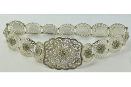Gürtel Silber Silbergürtel mit Mondsteinen in 800 Silber antik silver Belt 74 cm