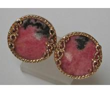 1 Paar Ohrringe Ohrclips mit Rhodochrosit Stein in aus 14 Kt. 585 Gold Clips