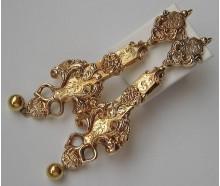 1 Paar Ohrringe Ohrhänger Biedermeier in aus 14 Kt. 585 Gold antik earrings