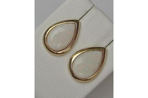 1 Paar Ohrringe Ohrstecker mit Opalen in 14 Kt. 585 Gold Opalohrstecker earrings