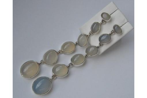 Ohrringe Ohrhänger mit Mondstein in aus 925 Silber earrings silver