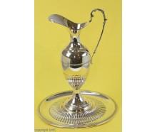 Wasserkaraffe Weinkaraffe Kanne mit Teller in 800 Silber um 1900 Höhe 29 cm