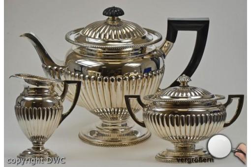 Tee und Kaffee Service in aus 800er Massiv Voll Silber Antik Kaffeeservice