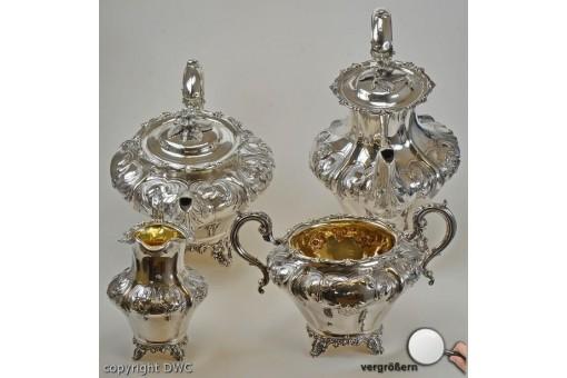 Service für Kaffee Tee 925 er Sterling Silber antik um 1842 England London