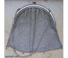 Abendtasche Tasche Opern Taschen in 800 er Silber Antik Kette Hand