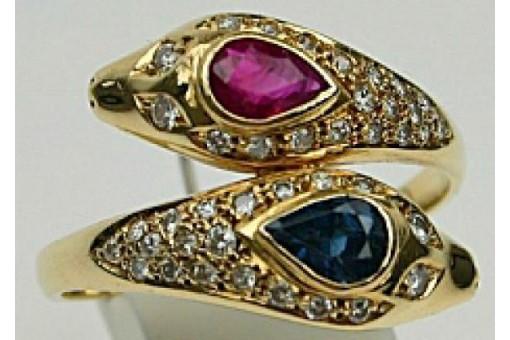 Ring mit Saphir Rubin Brillant Diamant Rubine Brillanten in Gold 58 Safir