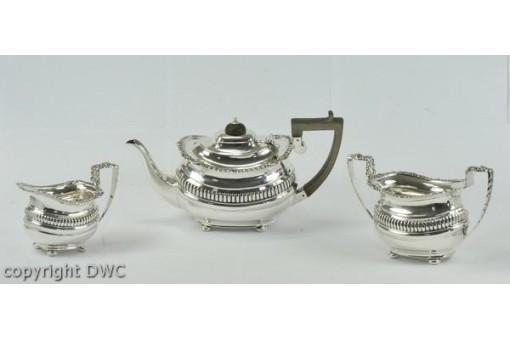 Tee Service Art Deco England Chester Antik aus 925 er Silber Kanne Zucker
