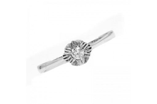 Ring mit Brillant Brillant Diamant Solitär 0,12 ct. in 14 Kt. 585 er Gold 60