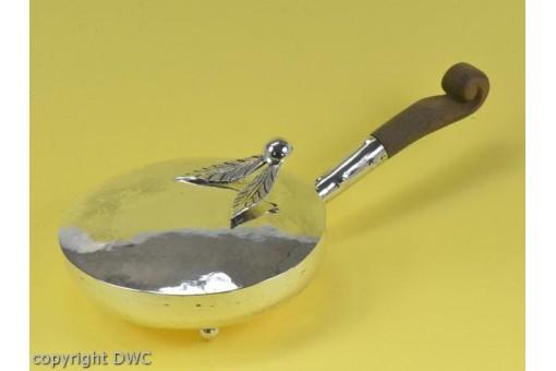 Servierpfanne Silberpfanne Pfanne mit Holzgriff Deckel 925 Silber Schaufel