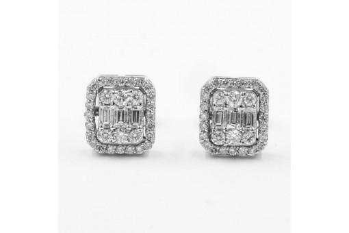 1 Paar Ohrstecker mit Brillanten 0,60 ct. und Diamanten  in 14 Kt. 585 Weißgold