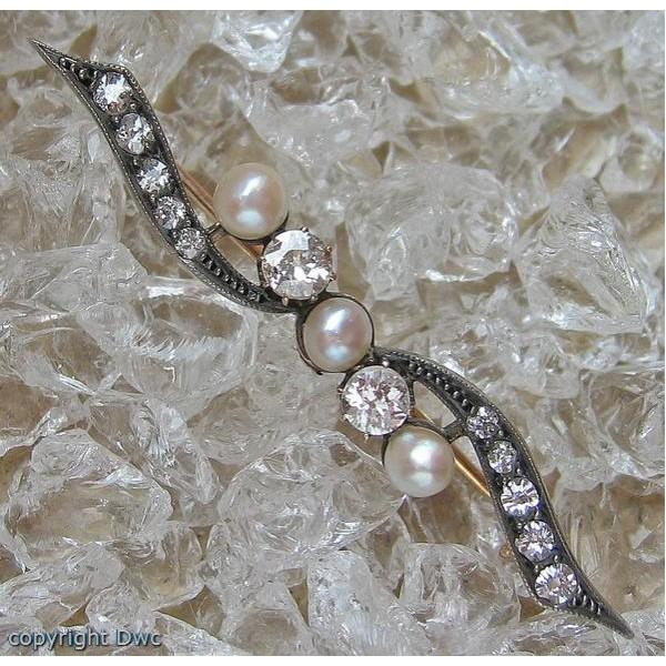 Perlen Brosche Diamantbrosche 585 Gold Brosche Rubin Perle Brillant Diamant Uhren & Schmuck