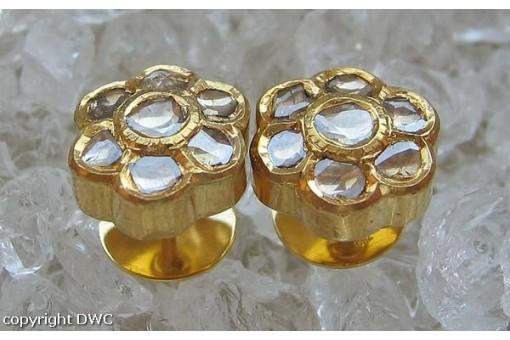 Diamantohrstecker Goldohrstecker Ohrringe mit Diamantrosen aus 750 Gold Damen