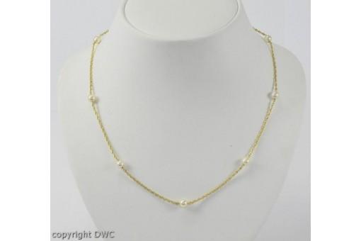 Kette aus Gold Ketten mit Perle Perlen Pearl 585 14 Kt