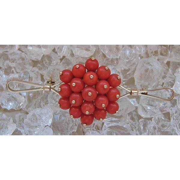 Broschen & Anstecknadeln Diamanten & Edelsteine 585 Gold Korallenbrosche Mit Koralle Korallen Coral Brooch In Aus 14 Kt